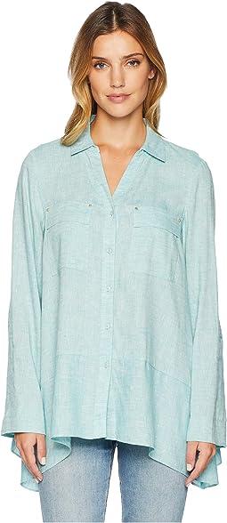 Handkerchief Hem Linen Shirt