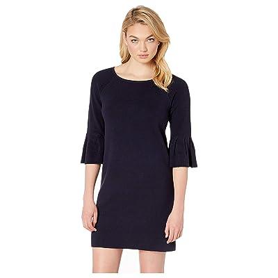 Lilla P Peplum Sleeve Cotton Modal Sweater Dress (Navy) Women