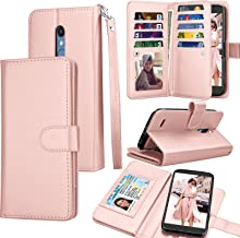 IKASEFU Compatible with LG K30 2019 Case Emboss Lace flower Pu Leather Wallet Strap Case with Card Holder Slots Shockproof Magnetic Kickstand Stand Folio Flip Book Protective Bumper Cover,gray