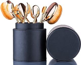 Oval Makeup Brush Set Toothbrush (Rose Gold Black)+ Makeup Organizer Brush Holder PU..