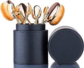 Oval Makeup Brush Set Toothbrush (Rose Gold Black)+ Makeup Organizer Brush Holder PU Leather by Beauty Kate