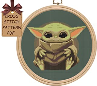 Baby Yoda cross stitch patterns pdf, modern counted disney cute cross stitch sampler design, simple easy cross stitch chart for beginners, home wall decor DIY