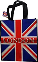 Union Jack Bag with White London Word - Tote Reusable Bag / British UK Souvenir / Great for Beach / Shopping / Picnic / Red White Blue Flag / Black Sides / Nylon with Sturdy Stitches