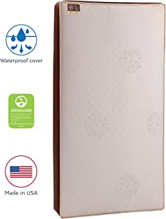 Stearns & Foster Baby Dynasty Sunrise 2-Stage Infant/Toddler Crib Mattress -204 Premium Coils, Luxurious Quilted Cotton Cover, Breathable Edges, Soybean Cool Gel Memory Foam, Cotton, 52