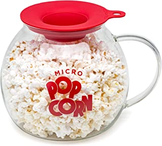 Original Microwave Micro-Pop Popcorn Popper, Borosilicate Glass, 3-in-1 Silicone Lid, Dishwasher Safe, BPA Free, 3 Quart