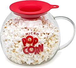 Ecolution Micro-Pop Popcorn Popper, 3 QT Capacity | Glass Microwave Popcorn Maker w/ Dual Function Lid