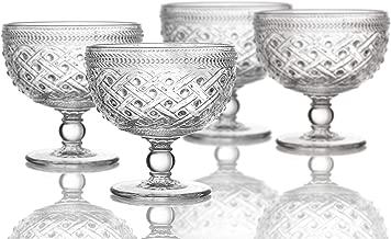 Elle Decor 229807-4PB Bistro Ikat Pedestal Bowls, 4.3 x 4.3, Clear