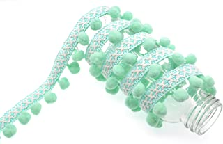 Marsha Q Embroidered Pom Pom Trim Ball Fringe Ribbon 5 Yard for Sewing Crafts Applique Designing Decorating Embroidery Clothing Accessories Bedding Curtains Paper Crafts Mint Green