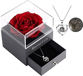 Preserved Real Rose with Silver-Tone Heart Necklace I Love You Gift Set, Enchanted Real Rose Flower for Valentine's Day An...