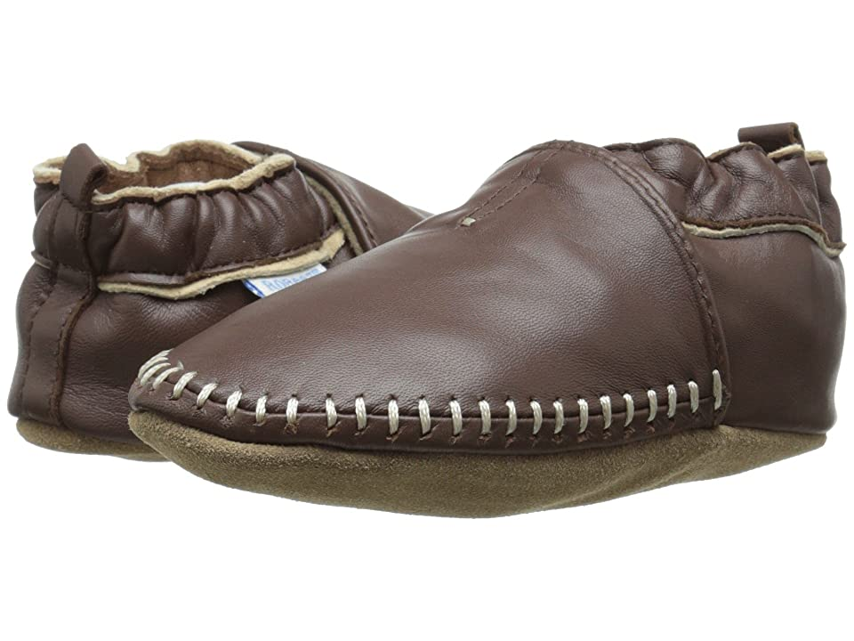 Robeez Premuim Leather Classic Moccasin Soft Sole (Infant/Toddler) (Brown) Boys Shoes