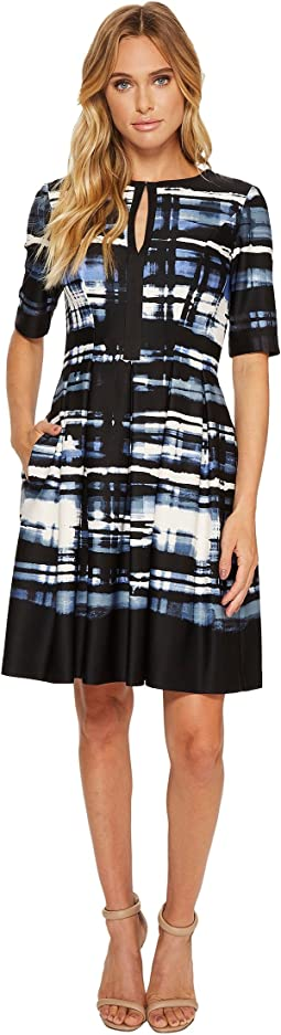 Vince Camuto - Printed Scuba Elbow Sleeve Fit & Flare Dress