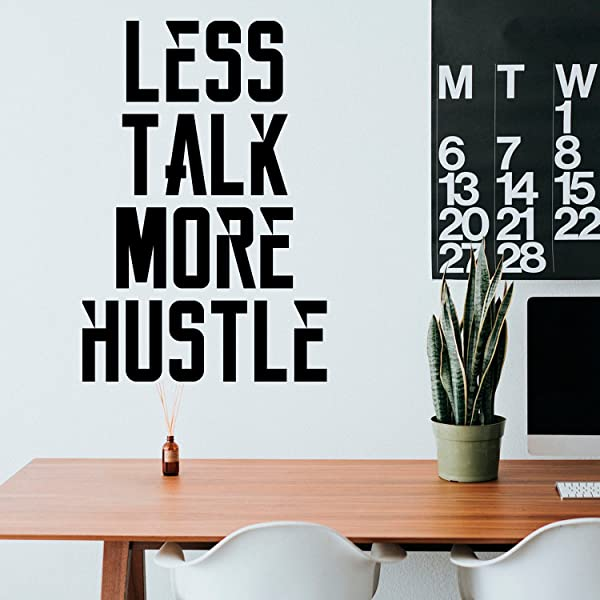 Vinyl Wall Art Decal Less Talk More Hustle 34 X 23 Inspirational Quotes Decoration Vinyl Sticker Motivational Wall Art Decal Home Office Vinyl Wall Decor Gym Fitness Stencil Adherent