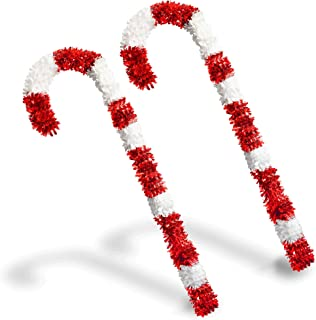 YuQi 4 Foot Christmas Candy Cane Tinsel, 2PCS Collapsible Red & White Tinsel Candy Cane Easy-Assembly Reusable Outdoor Indoor for Home Xmas Decorations