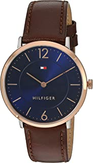 Tommy Hilfiger Men's Sophisticated Sport Gold Quartz Watch with Leather Calfskin Strap, Brown, 20 (Model: 1710354)