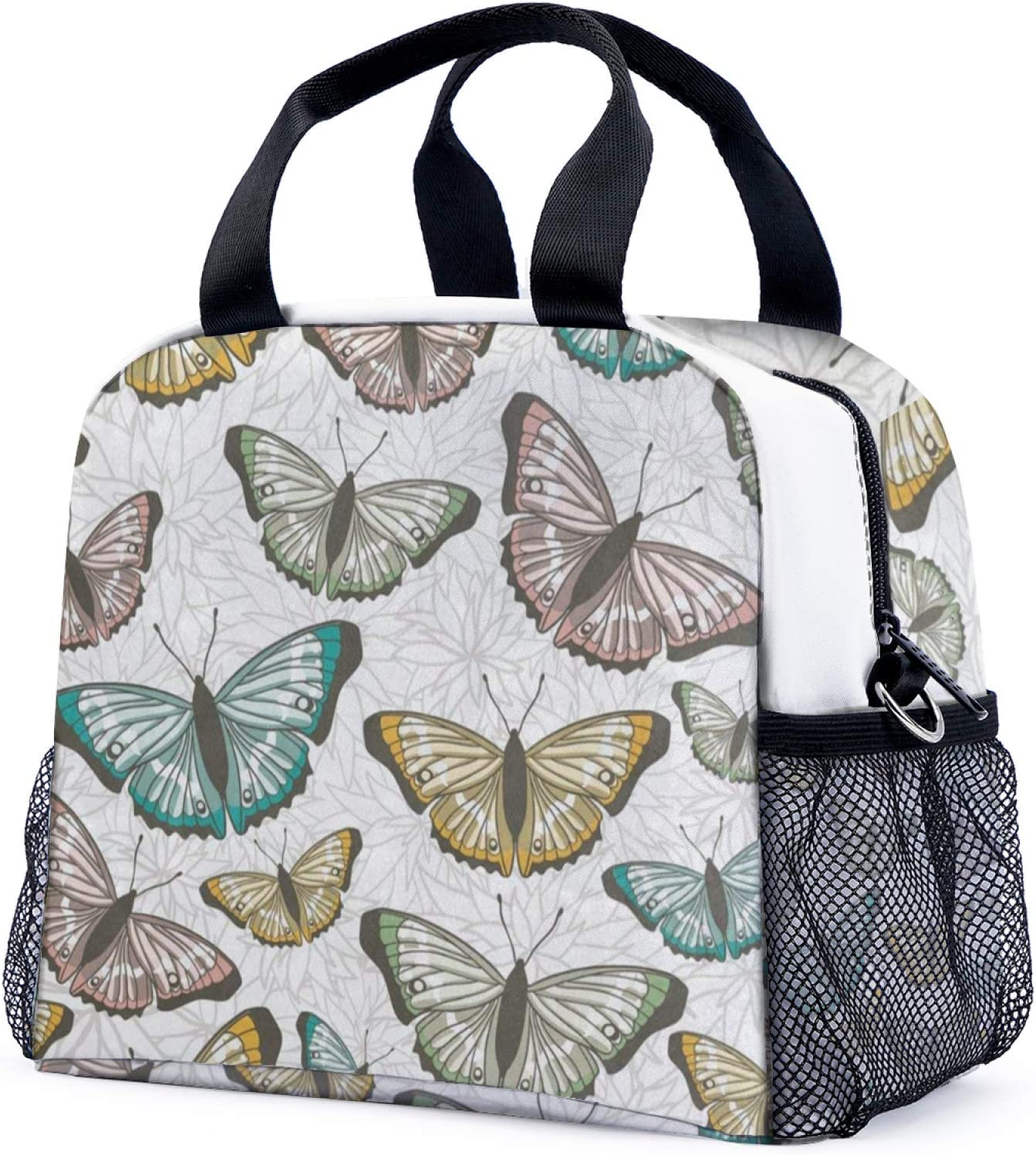Lunch Box For Men Women Vintage Flower Butterfly Insulated Meal