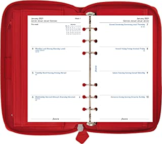 Filofax 2021 Saffiano Zip Poppy - Personal Compact, 6 Rings, Includes Week On 2 Pages Calendar Diary, Multilingual (C02253...