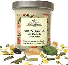 Abundance Pure & Natural Soy Candle 8.5 oz 100% All Natural & Non Toxic with Crystals, Bay, Tangerine & Jasmine Herbs & Essential Oil for Success Prosperity & Wealth: Wiccan Pagan Ritual