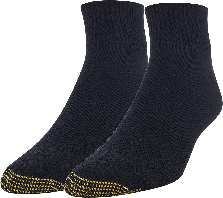 Gold Toe Men's Non Binding Super Soft Quarter, 2-Pairs, Black, X-Large