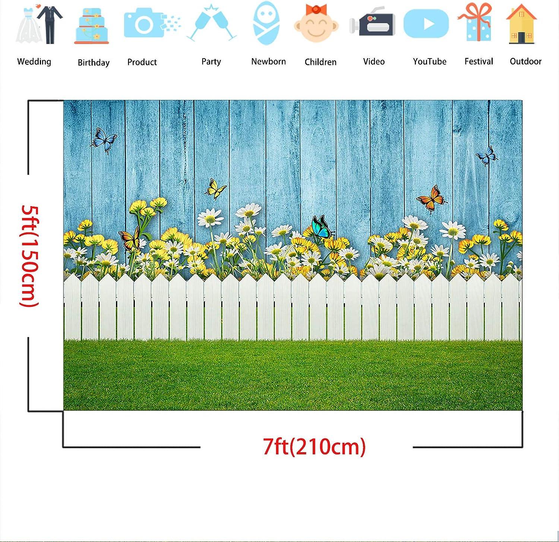 Avezano 2.1x1.5m P/âques printemps photographie toile de fond jardin fleur papillon cl/ôture herbe bleu en bois mur fond enfants anniversaire b/éb/é douche f/ête Photo accessoires