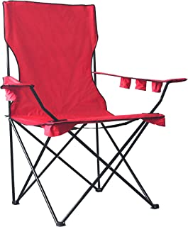 WagonBuddy 6 FT Giant Oversized Jumbo XXL Monster Kingpin Big Portable Folding Chair Camp Beach Outdoor Patio with 6 Cup Holders Free Carry Bag - Red