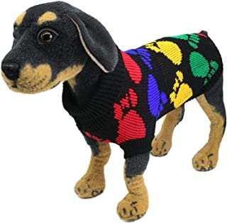 YAODHAOD Dog Sweater, Dog Sweater Classic Wool Blend Cable Knit Pullover (22, Puppy Footprint)