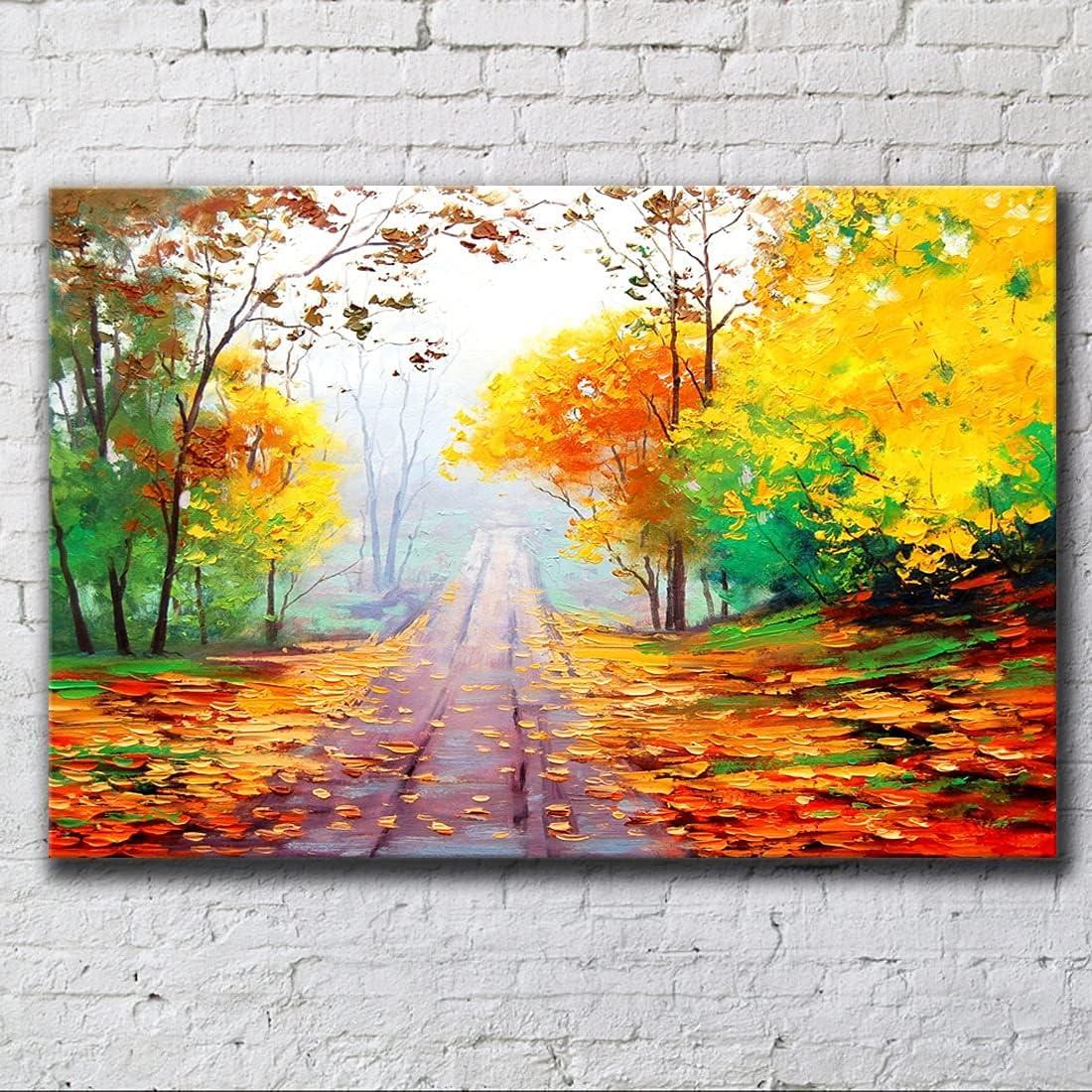 zxcvg Credence Grass Tree Landscape Waterproof Golden Autumn Painting quality assurance Oil