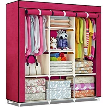 Shopper 52 Fancy & Portable Fabric Collapsible Foldable Clothes Closet Wardrobe Storage Rack Organizer Cabinet Cupboard Almirah 3 Door Wardrobe Collapsible Wardrobe (Maroon) - 88130A-MR