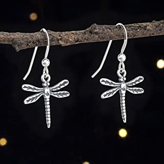 Sterling Silver Tiny Dragonfly Earrings - Handmade, Solid .925