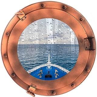 Nautical Round Ship Porthole Windows - Maritime Nautical Home Decor/Boat Fan Gift (Bronze)