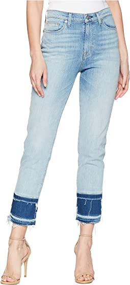 Zoeey High-Rise Straight Crop Double Step Hem Jeans in Stepped Azure