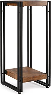 FIVEGIVEN Tall Side End Table for Small Spaces Narrow Night Stand for Bedroom Rustic Brown 27.6 Inch