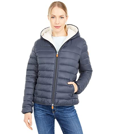 Save the Duck Giga Sherpa Lined Short Hooded Puffer Jacket (Grey/Black) Women