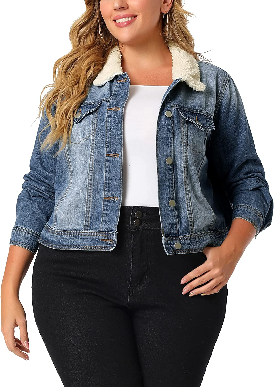 Agnes Orinda Plus Size Denim Jackets for Women Ex-Boyfriend Crop Jeans Jackets Sherpa Trucker Jackets