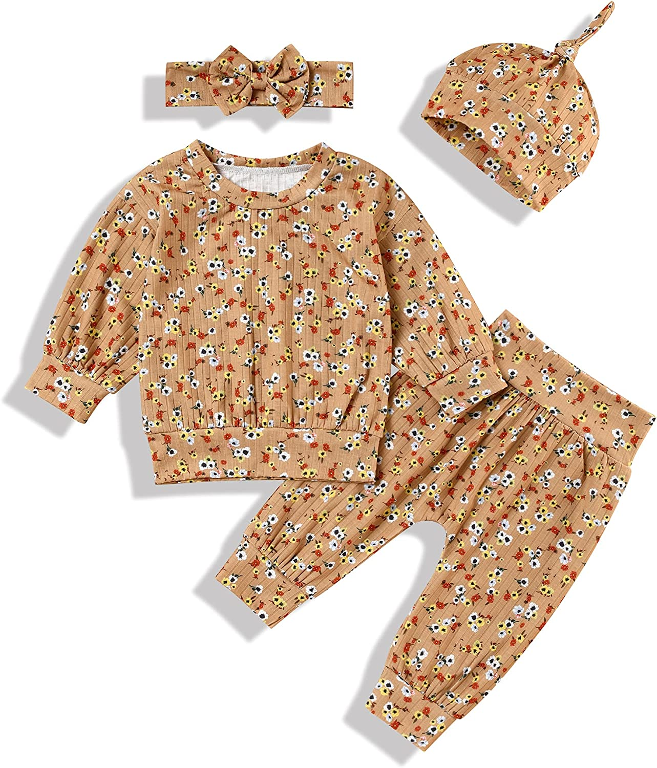 Newborn Baby Girl Boy Clothes Girl Floral Long Sleeve Top Cute Pant+Headband+Hat 4Pcs Winter Outfit Set