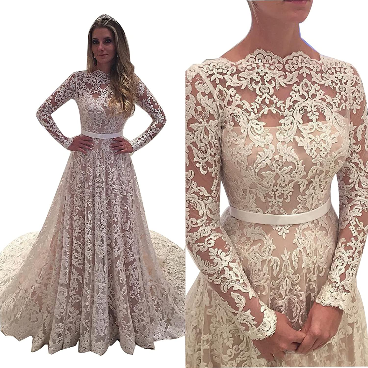 Vivibridal Women's Long Bateau Neck Lace Country Wedding Dresses with Long Sleeves