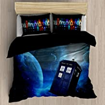 FEIDANNO Doctor Who Duvet Cover Sets Queen Size, Theme of Movie Home Decorative 3 Piece Bedding Set with 2 Pillow Shams. (Navy Blue, Queen/Full)
