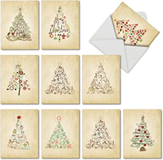 Retro Tannenbaum' Christmas Greeting Cards, Boxed Set of 10 Christmas Doodles Holiday Notes 4 x 5.12 inch, Lovely Christmas Tree Illustration Cards, Vintage-Inspired Christmas Symbols M6648XSG