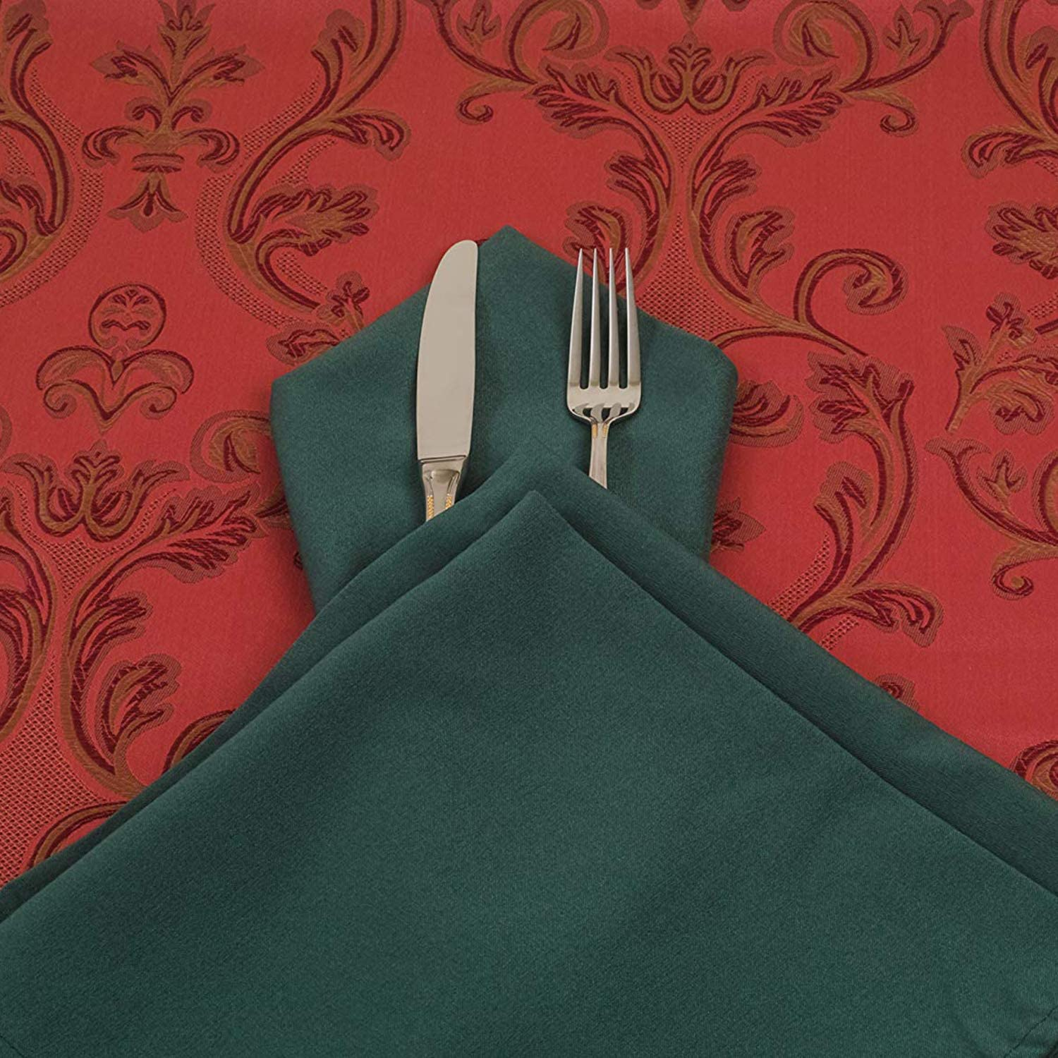 Hemmed Edges Home Lightweight Machine Washable Dinning Banquet Weddecor 20 Inch Spun Polyester Table Napkin for Wedding Hotel Party 1 Piece Green