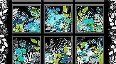 Beautiful Cool Blue Floral Block Panel Print Fabric ~ 24