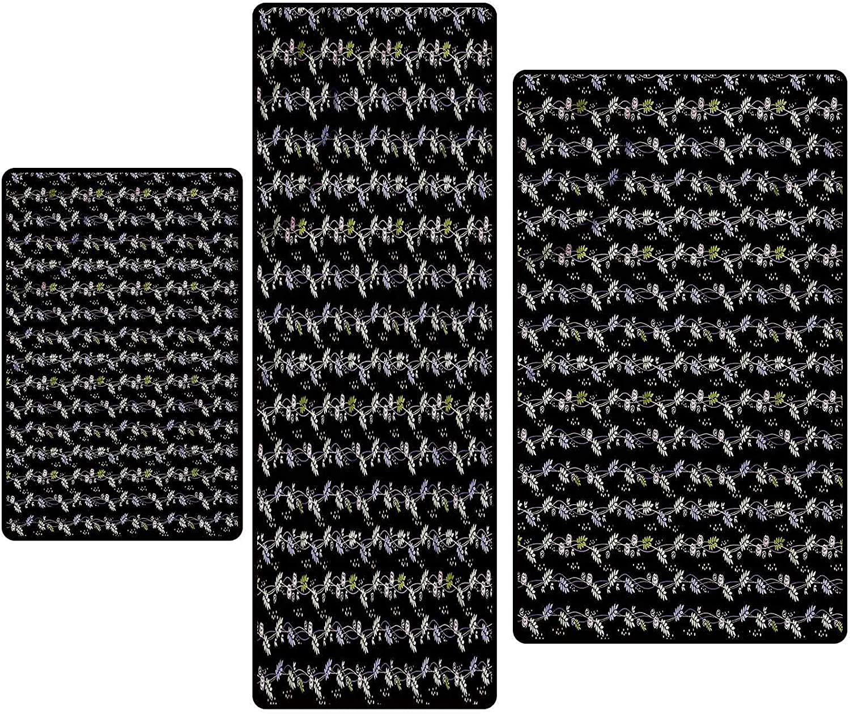 Max 61% OFF Leaves Non-Slip Sacramento Mall Kitchen Mat Runner Set Blooming Rug 3pc Nature