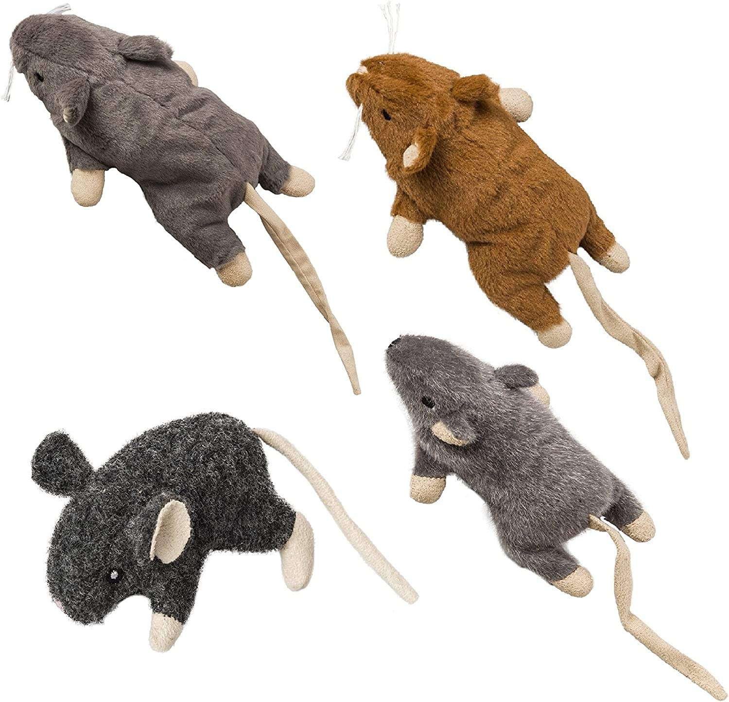 Ethical Pets Super Mouse Sam, Big Mouse Bertha, Wool Mouse Willie, and Flat Mouse Frankie Catnip Toys (Bundle)