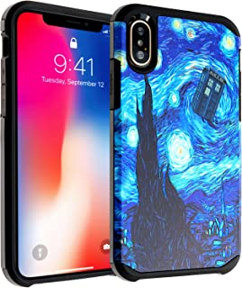 iPhone X Case, DURARMOR iPhone 10 Doctor Who Tardis Police Box Starry Night Dual Layer Hybrid ShockProof Slim Fit Armor Drop Protection Case Cover For iPhone X Tardis Starry Night