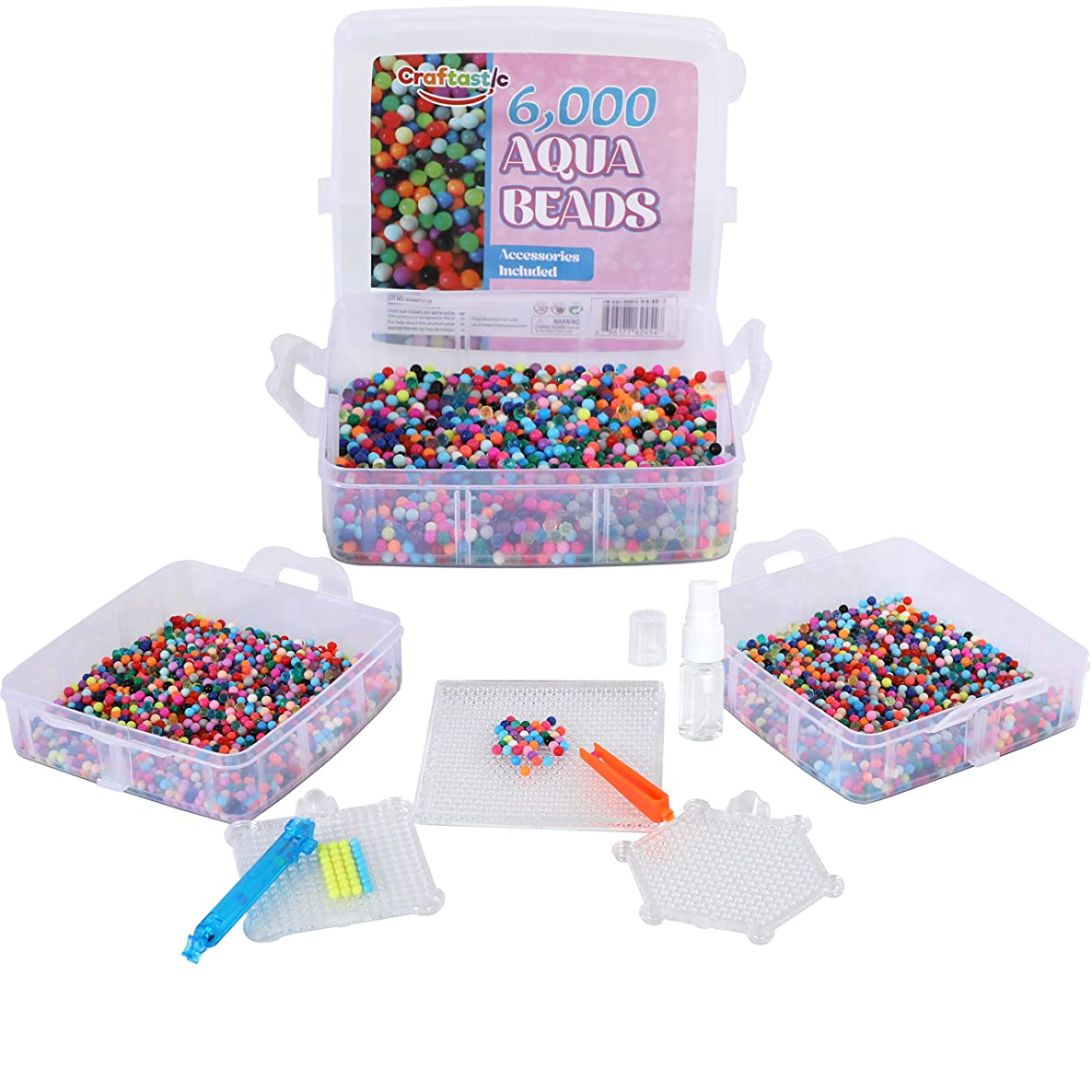 Kraftic EZ Water Beads- Complete Set with 6,000 Mulit Color Beads and 6 Accessories. Comes in a Clear Storage Container