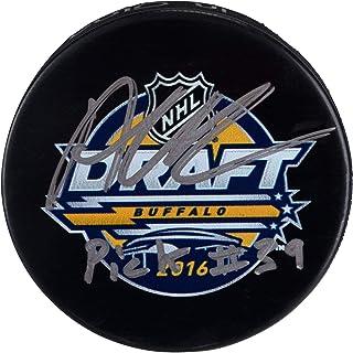 "Alex DeBrincat Chicago Blackhawks Autographed 2016 NHL Draft Logo Hockey Puck with""Pick #39"" Inscription - Fanatics Authentic Certified"