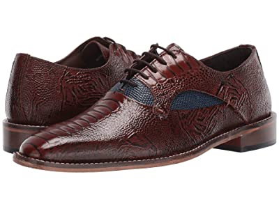 Stacy Adams Ricoletti Leather Sole Plain Toe Oxford (Cognac/Dark Blue) Men