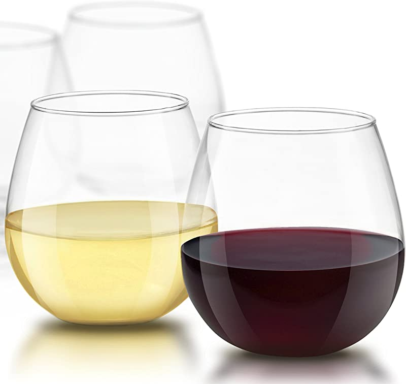 JoyJolt Spirits Stemless Wine Glasses For Red Or White Wine Set Of 4 15 Ounces