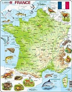 Larsen K49 Carte Physique France, édition Français, Puzzle Cadre avec de 60 pièces