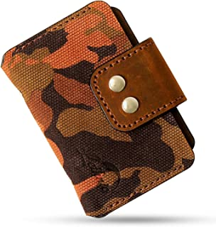 Minimalist Wallet, Business Card Holder, Modern Slim & Small Embossed Italian Genuine Cowhide Leather Horizontal
