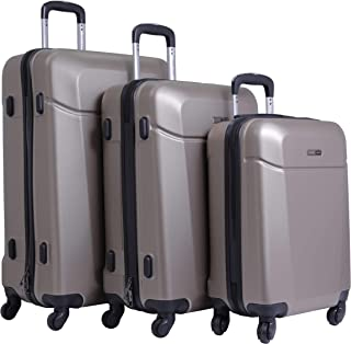 PARAJOHN Hardside 3-Piece Trolley Luggage Set Champagne