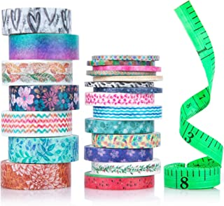 Cute Washi Tape Set with 3 sizes | 15mm 8mm and 3mm Wide Skinny and Thin | Decorative Holiday Craft Tape | Colorful Tape |...